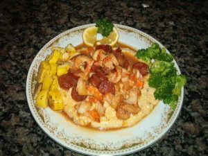 Shrimp & Grits with a Andouille Sausage