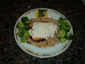 Baked Salmon with Dill Weed Sauce