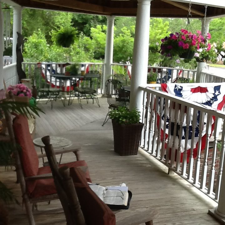 The front porch of a bed and breakfast in South Carolina
